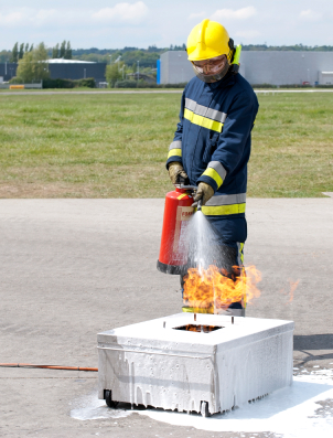 Fire Safety with live-fire, Extinguisher Training